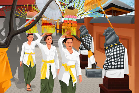 A vector illustration of Balinese women bring offerings of fruits and gifts