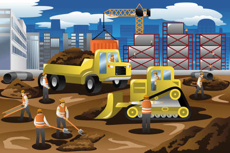 construction machines: A vector illustration of workers in a construction site
