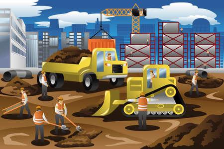 camion grua: Una ilustración vectorial de los trabajadores en una obra en construcción
