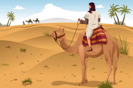 cartoon camel: A vector illustration of Arabian riding camels on the desert