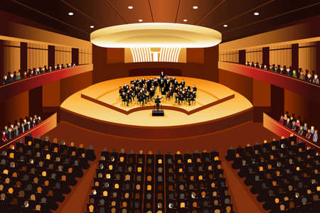 spectators: A vector illustration of classical music concert