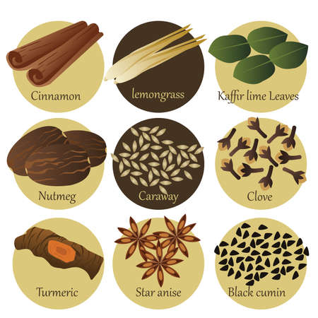 cooking icon: A vector illustration of herb icon sets