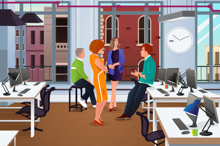 Een vector illustratie van een groep mensen uit het bedrijfsleven in een informele bijeenkomst in het kantoor