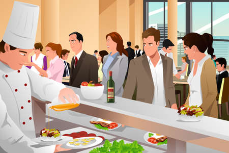 A vector business people eating in a cafeteria