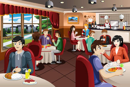 A vector illustration of business people having lunch together 일러스트