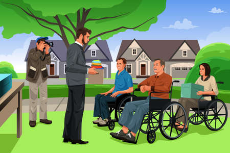 wheelchair: A vector illustration of man giving donation to the disable people in an event