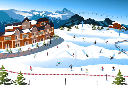 family vacations: A vector illustration of scene in a ski resort