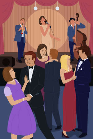 gente bailando: Una ilustración vectorial de personas bailando en un club nocturno de jazz