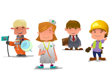 cartoon builder: A vector illustration of astronaut, doctor, businessman, and contractor