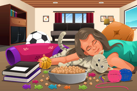 she: A vector illustration of little girl hugging her cat while she is sleeping Illustration