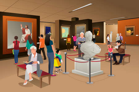 A vector illustration of people inside a museum of art