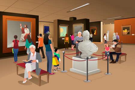 Une illustration de vecteur de personnes à l'intérieur d'un musée d'art