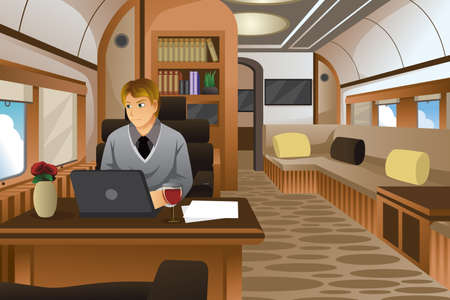 sitting people: A vector illustration of businessman traveling in a luxurious private jet