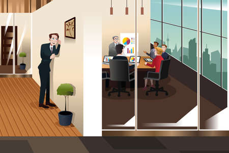 A vector illustration of businessman listening to the conversation in a meeting room