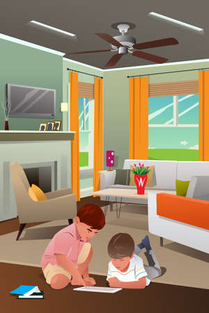 modern living room: A vector illustration of Little boys playing with tablet PC in the living room