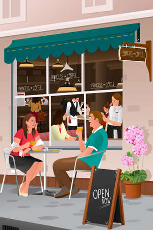 A vector illustration  of couple drinking coffee at an outdoor cafe