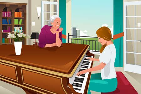 klavier: Ein Vektor-Illustration Mutter Tochter Klavier zusammen spielen