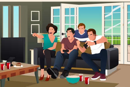cartoon human: A vector illustration of teenagers playing video game with friends watching