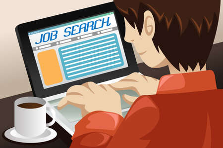 A vector illustration of a man searching for a job online Illustration