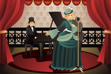 chanteur opéra: Une illustration de vecteur d'pianiste et chanteur sur scène
