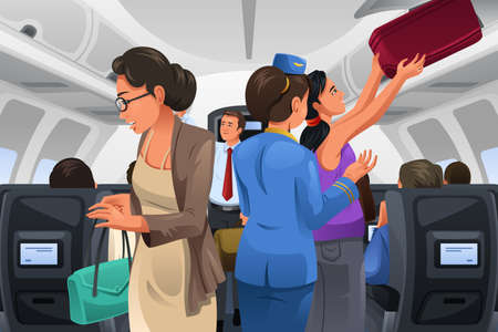 passenger plane: A vector illustration of passengers lifting their carry-on luggage into the cabin