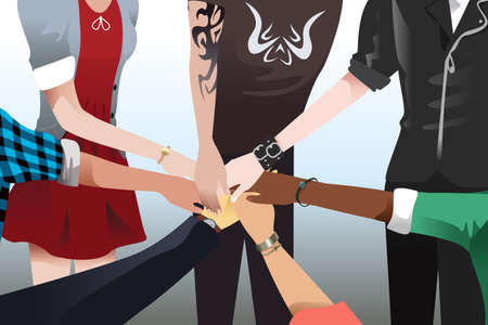 touching: A vector illustration of hands touching together for unity and teamwork concept