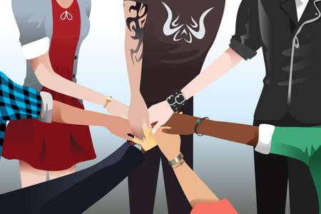 manos juntas: Una ilustración vectorial de las manos tocando juntos por la unidad y el trabajo en equipo concepto