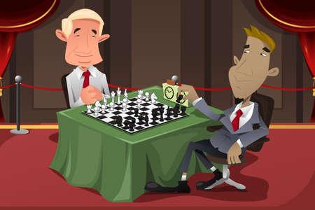 jugando ajedrez: Una ilustración vectorial de los hombres de negocios jugando al ajedrez Vectores