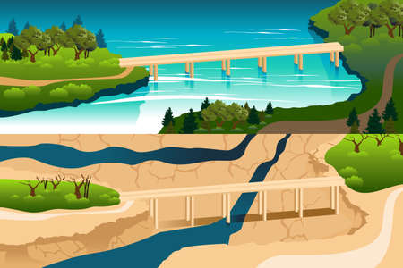 parched: A vector illustration of before and after comparison of drought