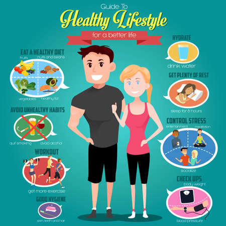 exercises: A vector illustration of infographics of a guide to healthy lifestyle for a better life