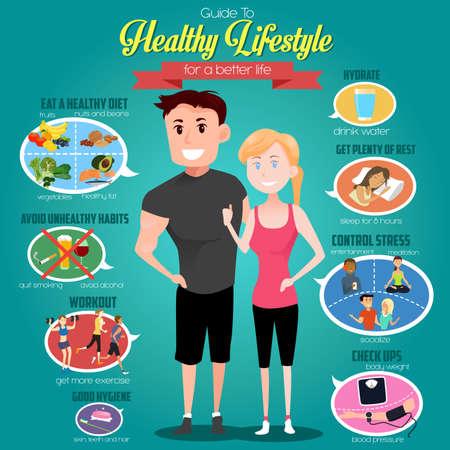 gente saludable: Una ilustraci�n vectorial de infograf�as de una gu�a de estilo de vida saludable para una vida mejor