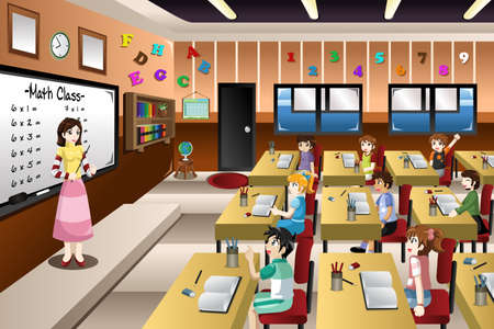 A vector illustration of teacher teaching math in a classroom Vectores