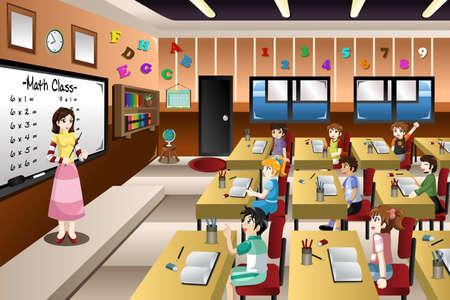 Una ilustración vectorial de enseñanza del profesor de matemáticas en un aula