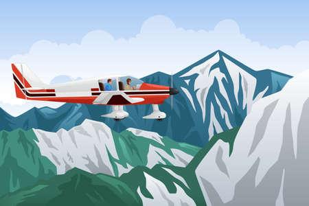 montañas nevadas: Una ilustración vectorial de pequeño avión volando a través de las montañas