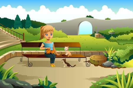 youthful: A vector illustration of little girl playing with cats in a park
