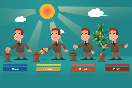 money savings: A vector illustration of businessman watering the money tree Illustration