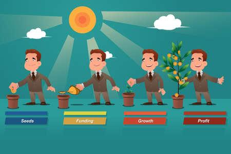 deposit: A vector illustration of businessman watering the money tree Illustration