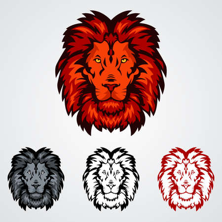 animal head: A vector illustration of lion head icons