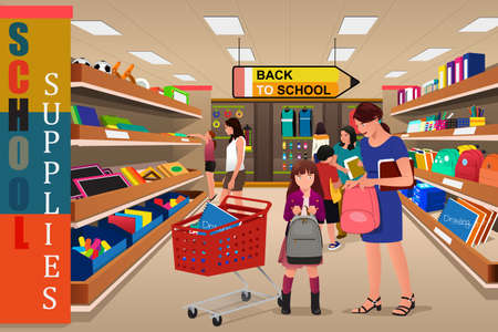 A vector illustration of kids with their parents buying school supplies in a store