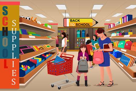 papeleria: Una ilustración vectorial de los niños con sus padres comprando útiles escolares en una tienda