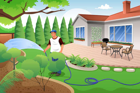 A vector illustration of man watering his grass and garden in the backyard Vectores