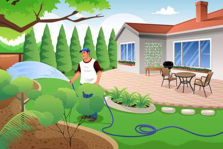 regando plantas: Una ilustración vectorial de hombre que regar su césped y jardín en el patio trasero