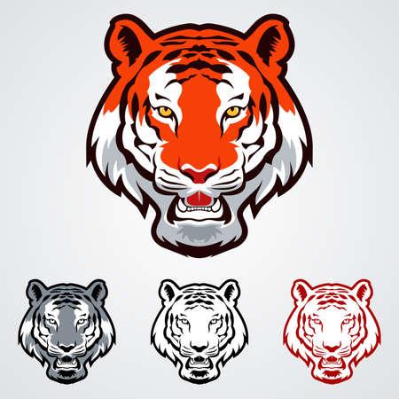tigre caricatura: Una ilustraci�n vectorial de los iconos de la cabeza del tigre
