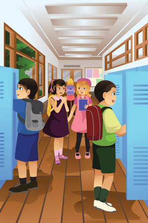 school boys: A vector illustration of students put their stuff in the locker at school