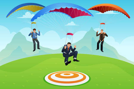 an achievement: businessmen with parachutes landing on a target