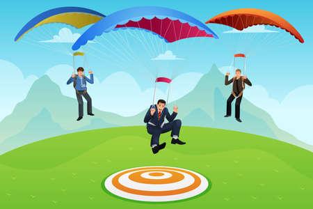 fallschirm: Gesch�ftsleute mit Fallschirmen auf einer Ziellandung Illustration