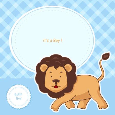 leon bebe: Una ilustraci�n vectorial de dise�o de tarjeta de invitaci�n de la ducha del beb�