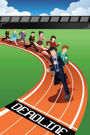 Una ilustración vectorial de la gente de negocios en una carrera contra el tiempo para el concepto de plazo