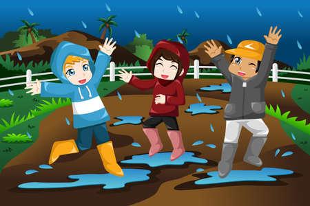 Una ilustración vectorial de niños felices jugando bajo la lluvia Vectores