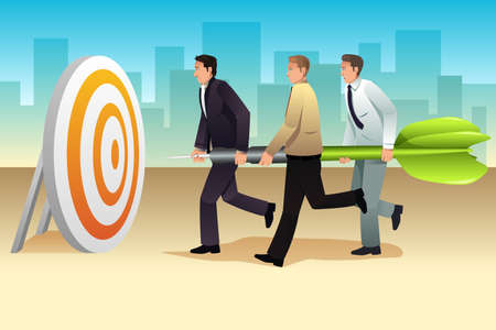 focus on the goal: A vector illustration of businessmen  Aiming a Dart on the Target